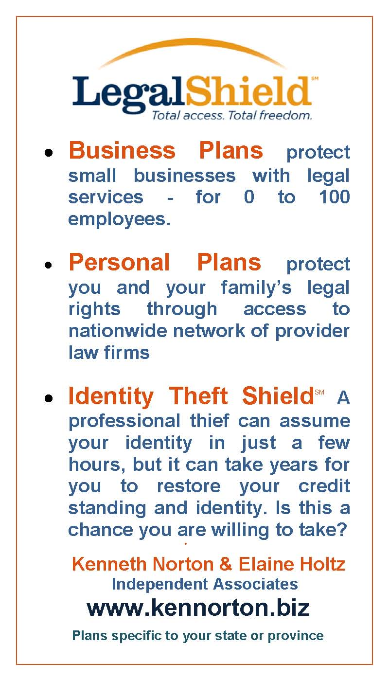 LegalShield for Business and Personal legal plans and for Identity Theft Shield with link to www.kennorton.biz